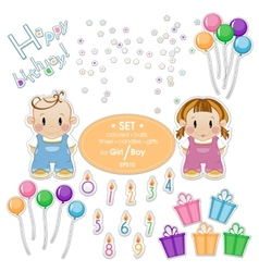 Baby kit for the holiday birthday boy or girl vector