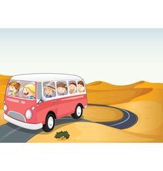 Bus in a desert vector