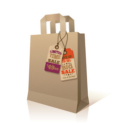 Paper shopping bag with promotion tags vector