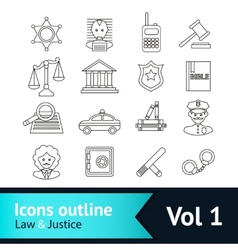 Law and justice icons set vector