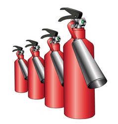 Group of red fire extinguishers vector