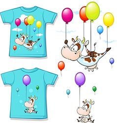 Shirt with funny printed cow flying with balloon - vector
