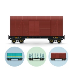 Set of icons of different types of freight cars vector
