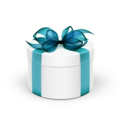 White round gift box with light blue turquoise vector