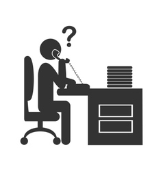 Flat phone people office icon isolated on white vector