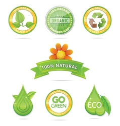 Green nature emblems vector