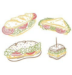 Sandwiches breakfast imbiss snack vector