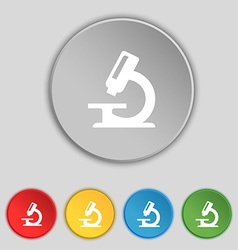 Microscope icon sign symbol on five flat buttons vector
