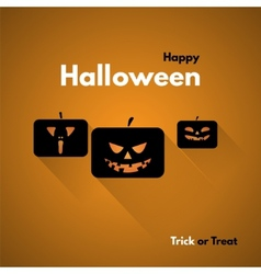 Happy halloween label with pumpkins vector