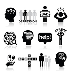 Depression stress icons set - mental health vector