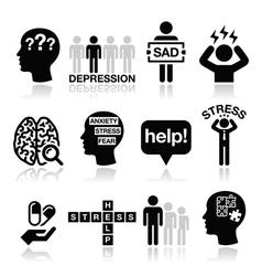 Depression stress icons set - mental health vector