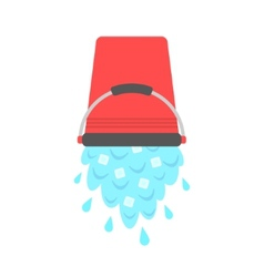 Water with ice cubes pouring from red bucket vector