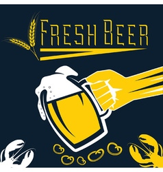 Hand with a glass of beer retro vector