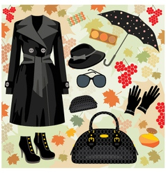 Autumn fashion set vector