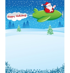 Santa in airplane with holiday wishes vector