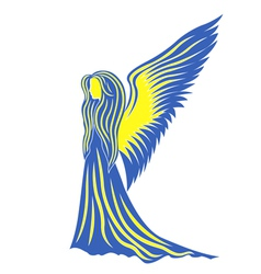 Female angel in yellow and blue symbolize the vector