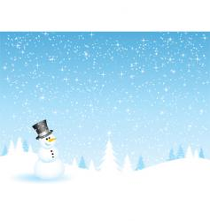 Snowman on a snowy night vector