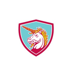 Angry unicorn head shield cartoon vector