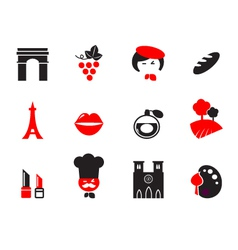 Retro paris and french icons vector