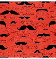 Mustache red seamless pattern vector