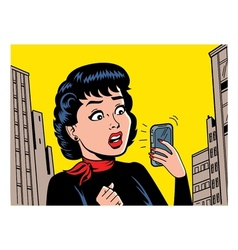 Retro woman with phone vector