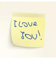 Sticky note: i loveyou vector