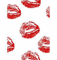 Seamless red lipstick kiss stamp vector