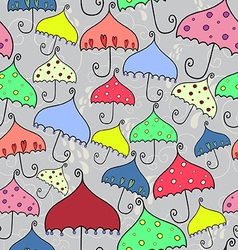 Seamless pattern of fantasy umbrellas vector