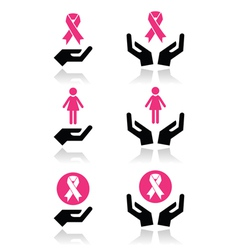 Pink ribbons - breast cancer awareness with hands vector