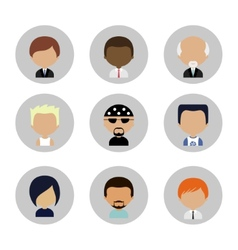 Set of men faces icons in flat design vector