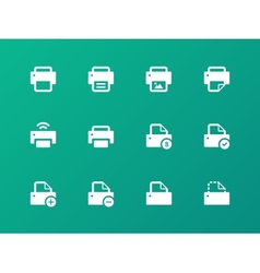 Printer icons on green background vector