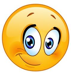 Half smile emoticon vector