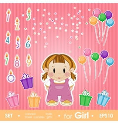 Festive set for girl set for birthday candles vector