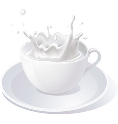 Splash of milk in cup - isolated on white ba vector