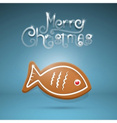 Gingerbread fish and merry christmas title on blue vector