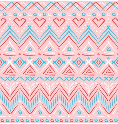 Pink tribal ethnic seamless pattern vector