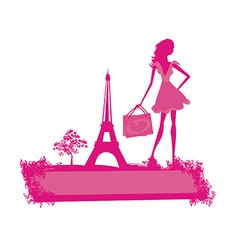 Fashion slim women silhouette shopping in paris - vector