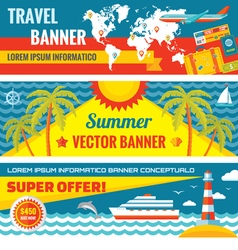 Summer travel - decorative banners vector