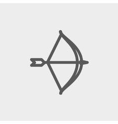 Bow and arrow thin line icon vector