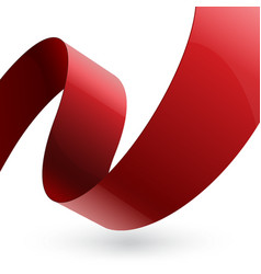Red shiny fabric curved textured ribbon on white vector