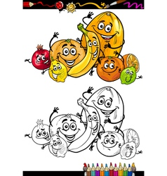 Cartoon citrus fruits for coloring book vector