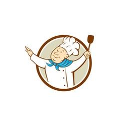 Chef cook arms out spatula circle cartoon vector
