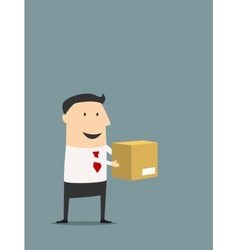 Cartooned flat businessman holding carton box vector
