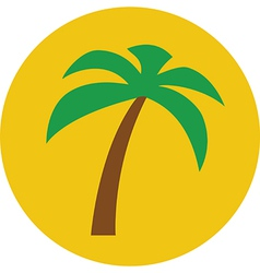Sunny palm tree flat icon vector