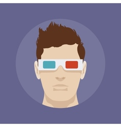 Young man in the 3d stereo glasses vector