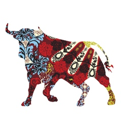 Bull in a spanish ornament vector
