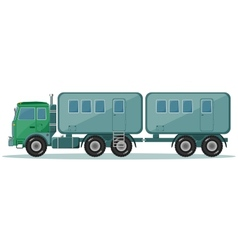 Truck with trailer to transport people vector