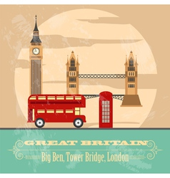 United kingdom of great britain landmarks vector