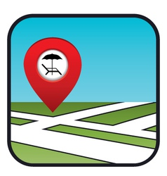 Street map icon with the pointer beach vacation vector