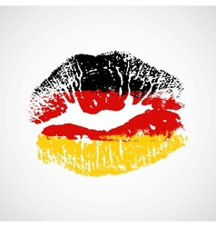 Flag lipstick on grunge lips vector
